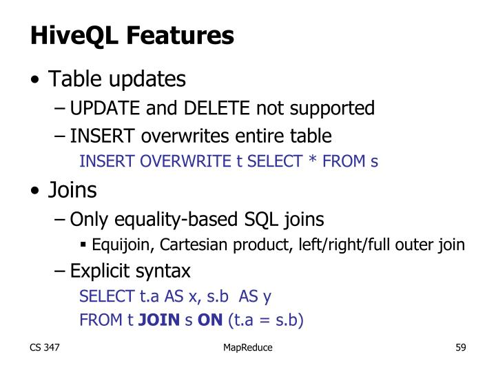 HiveQL Features
