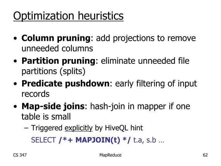 Optimization heuristics