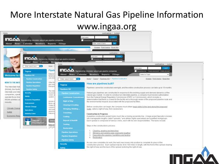 More Interstate Natural Gas Pipeline Information