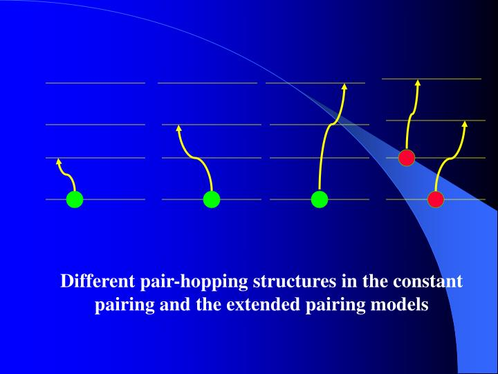 Different pair-hopping structures in the constant  pairing and the extended pairing models