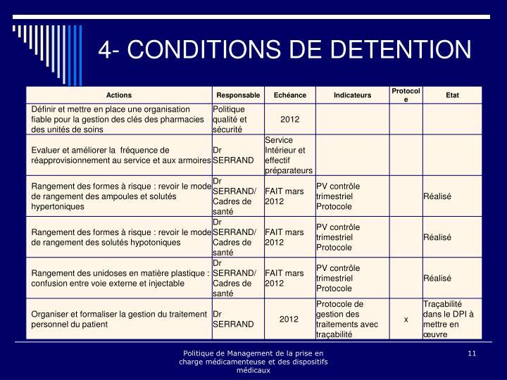 4- CONDITIONS DE DETENTION