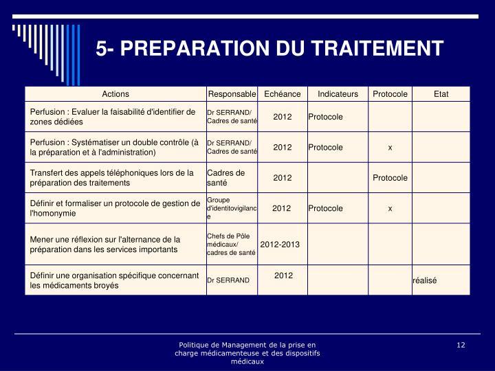 5- PREPARATION DU TRAITEMENT