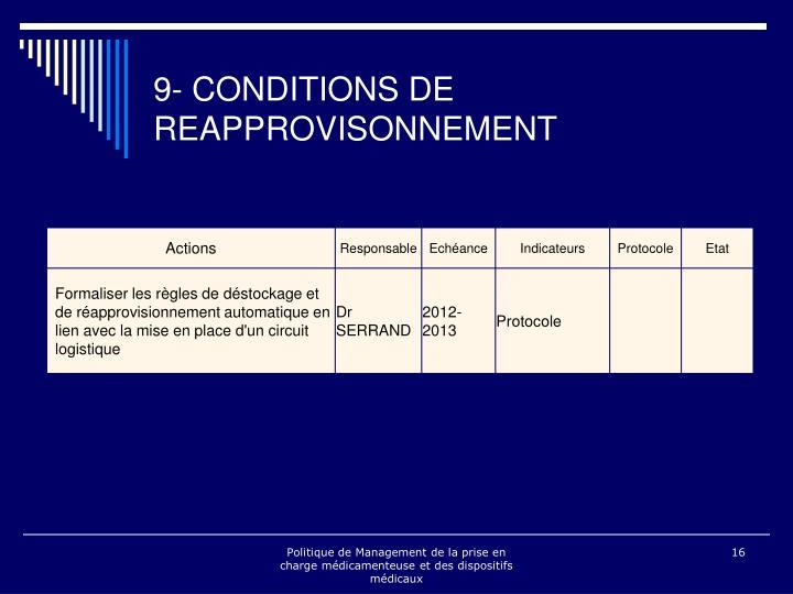 9- CONDITIONS DE REAPPROVISONNEMENT