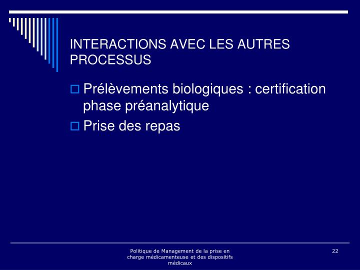 INTERACTIONS AVEC LES AUTRES PROCESSUS