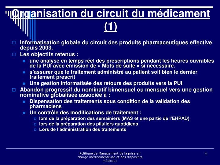 Informatisation globale du circuit des produits pharmaceutiques effective depuis 2003.