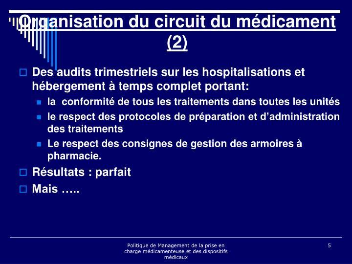 Des audits trimestriels sur les hospitalisations et hébergement à temps complet portant: