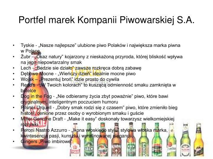 Portfel marek Kompanii Piwowarskiej S.A.