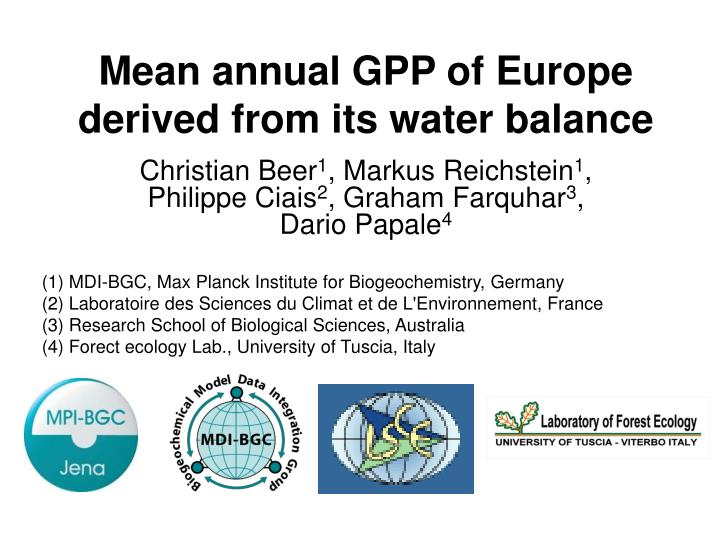 Mean annual gpp of europe derived from its water balance