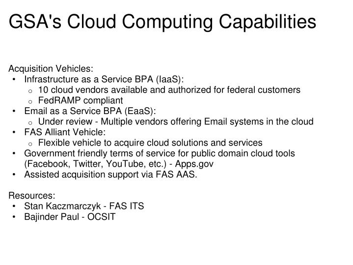 GSA's Cloud Computing Capabilities