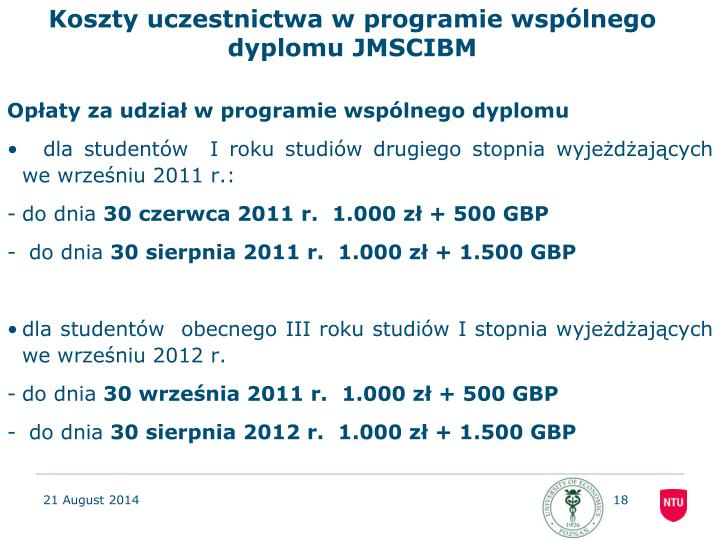 Koszty uczestnictwa w programie wspólnego dyplomu JMSCIBM