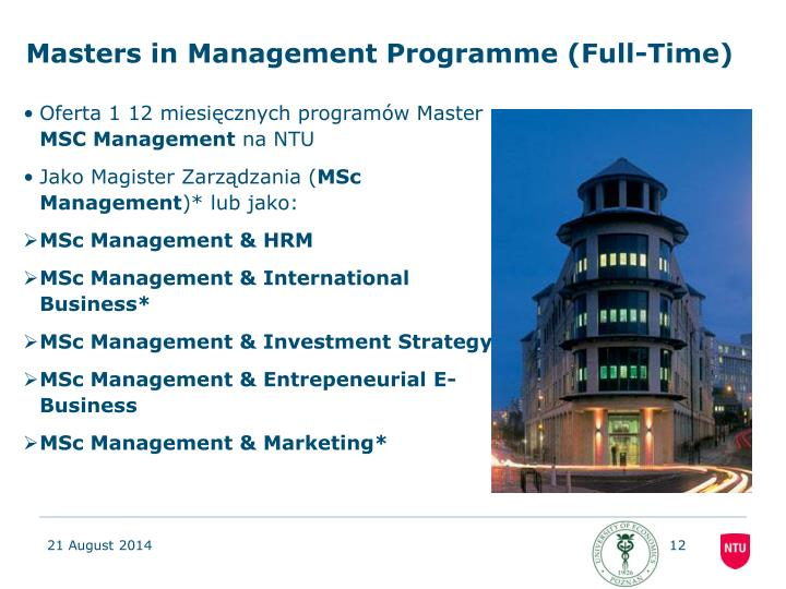 Masters in Management Programme (Full-Time)