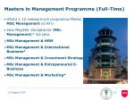 masters in management programme full time