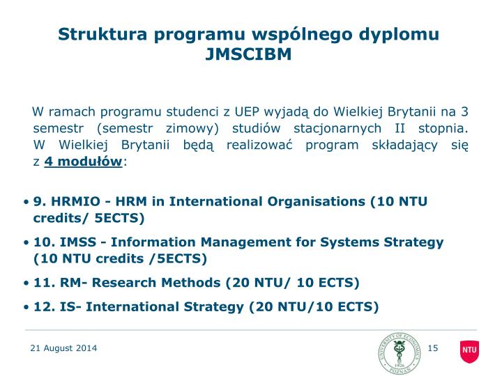 Struktura programu wspólnego dyplomu JMSCIBM