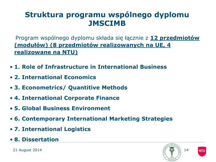 Struktura programu wspólnego dyplomu JMSCIMB