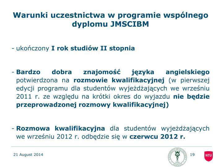 Warunki uczestnictwa w programie wspólnego dyplomu JMSCIBM