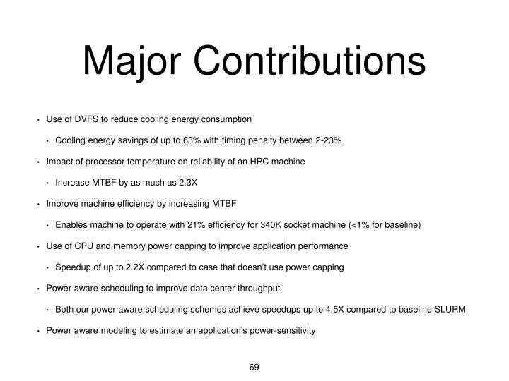 Major Contributions