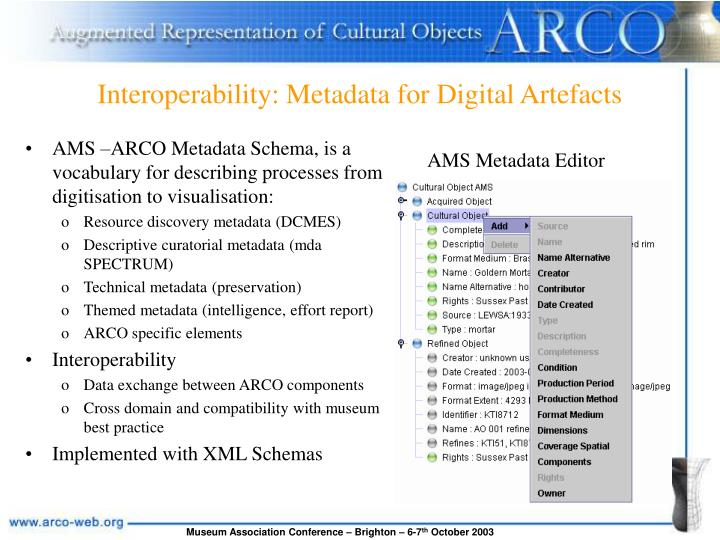 Interoperability: Metadata for Digital Artefacts