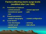 factors affecting storm surge levels modified after lau 1980