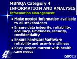 mbnqa category 4 information and analysis information management