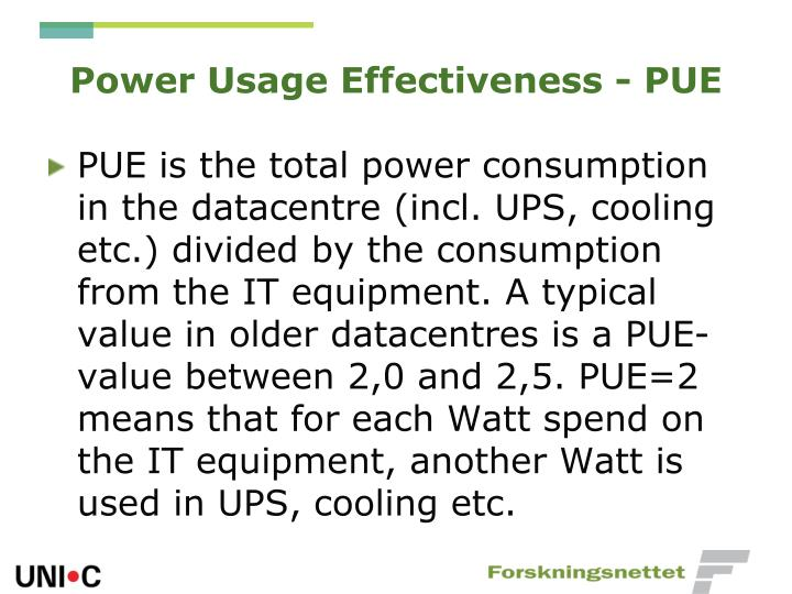 Power Usage Effectiveness - PUE