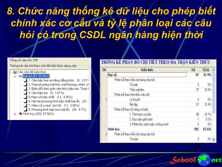 8. Chức năng thống kê dữ liệu cho phép biết chính xác cơ cấu và tỷ lệ phân loại các câu hỏi có trong CSDL ngân hàng hiện thời