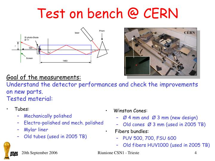 Test on bench @ CERN