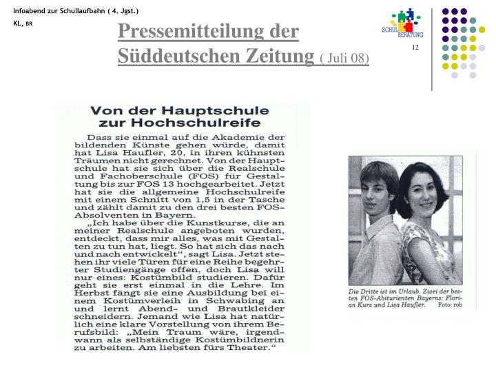 Pressemitteilung der Süddeutschen Zeitung
