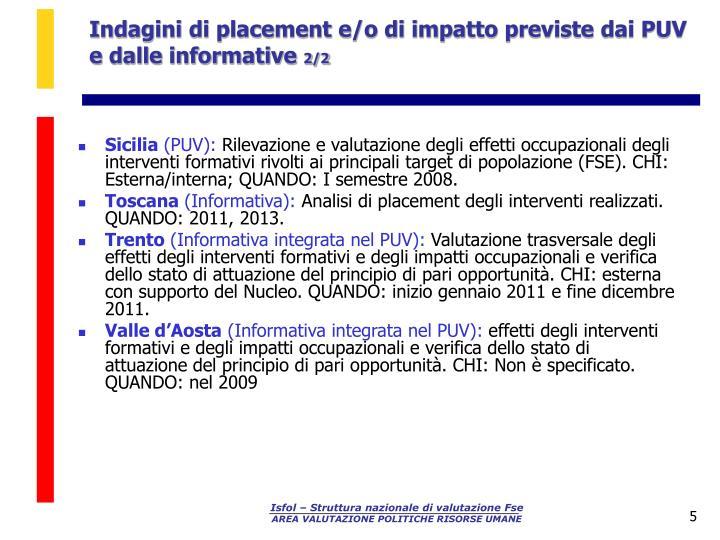 Indagini di placement e/o di impatto previste dai PUV e dalle informative