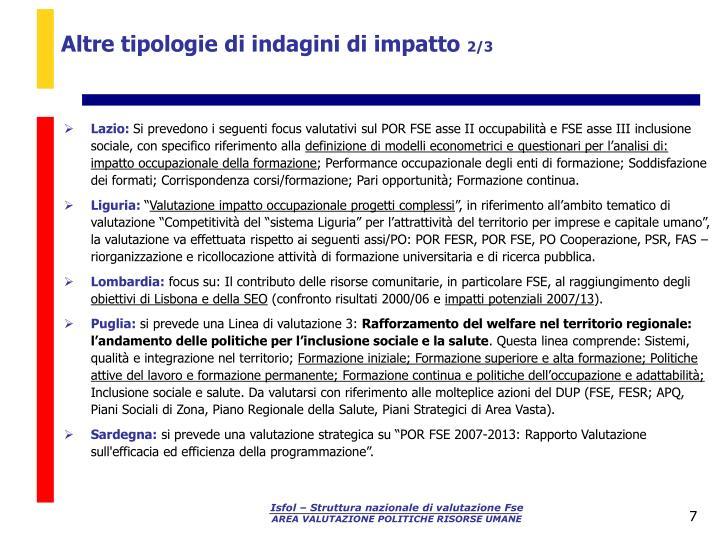 Altre tipologie di indagini di impatto