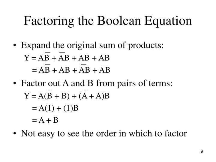 Factoring the Boolean Equation