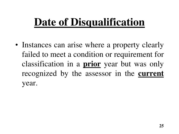 Date of Disqualification
