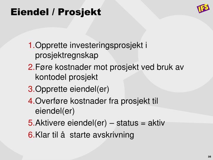 Eiendel / Prosjekt
