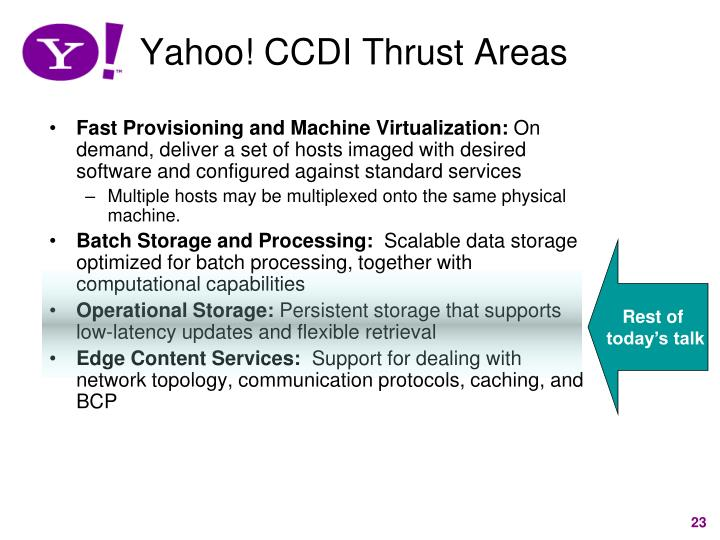 Yahoo! CCDI Thrust Areas