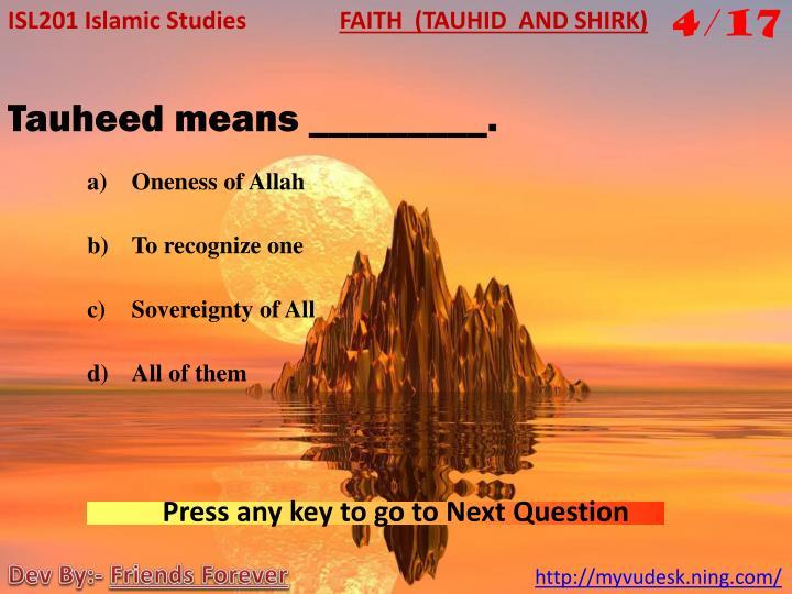 ISL201 Islamic Studies