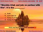 worship allah and join no partner with him it is the