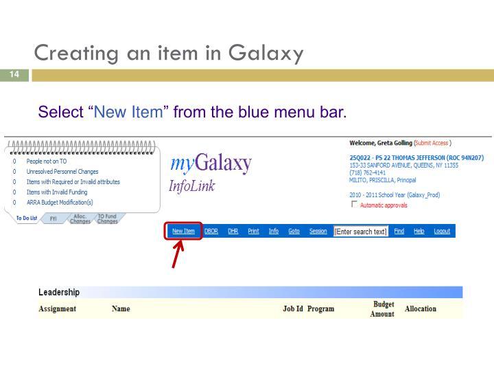Creating an item in Galaxy