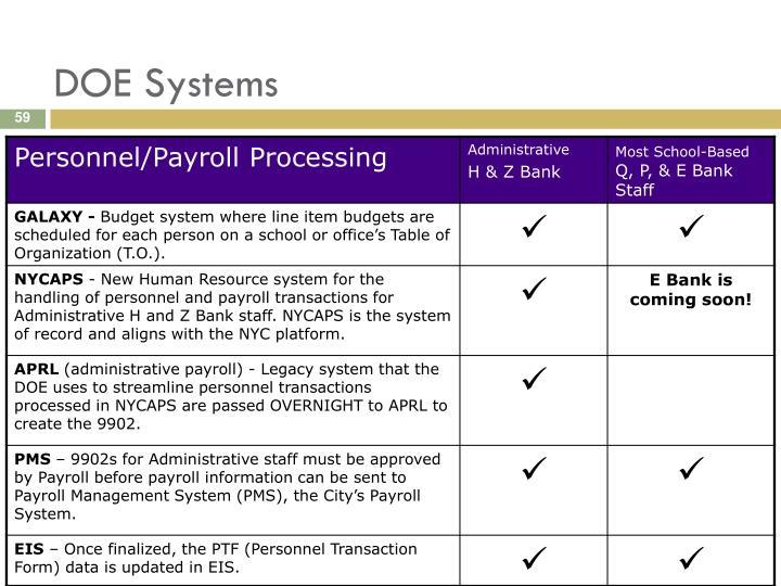 DOE Systems