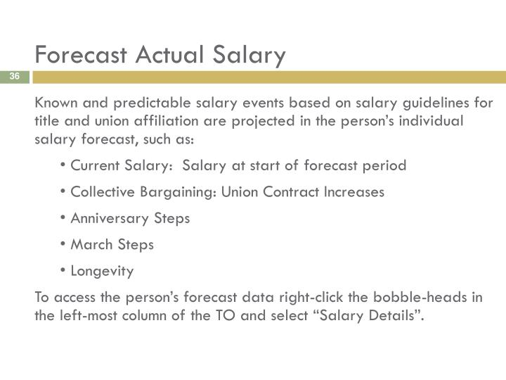 Forecast Actual Salary