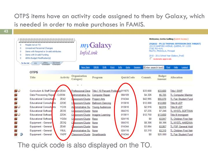 OTPS items have an activity code assigned to them by Galaxy, which is needed in order to make purchases in FAMIS.