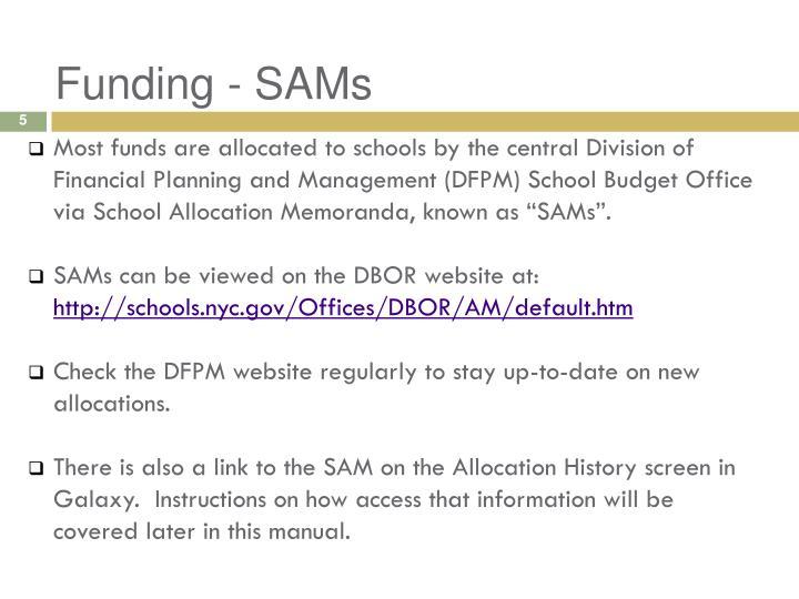 Funding - SAMs