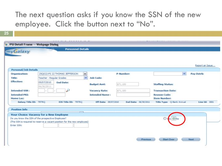 """The next question asks if you know the SSN of the new employee.  Click the button next to """"No""""."""
