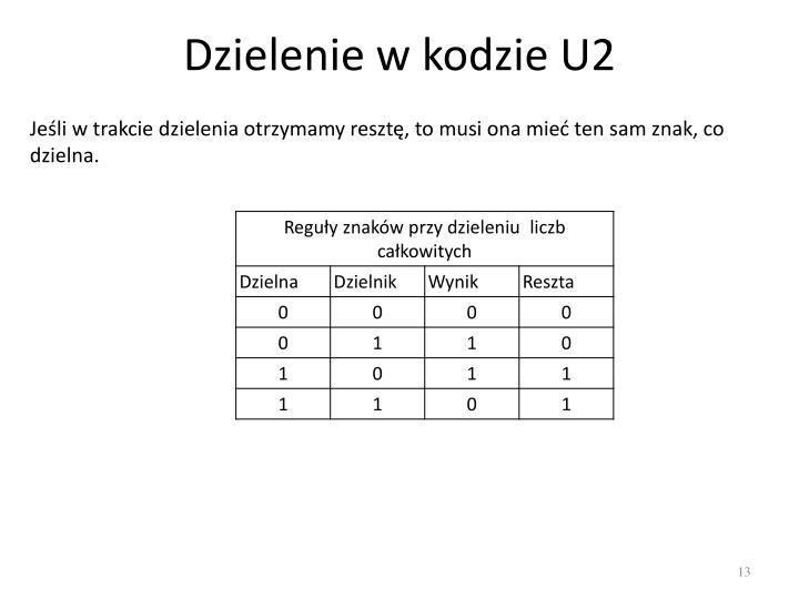 Dzielenie w kodzie U2
