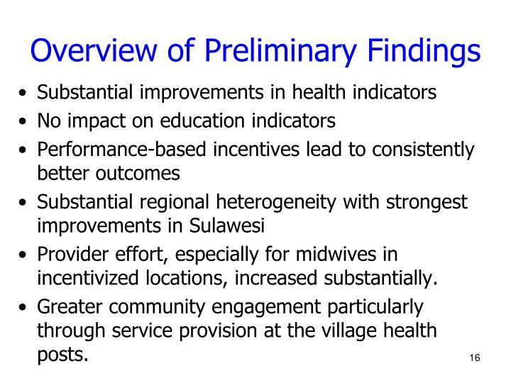 Overview of Preliminary Findings