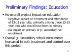 preliminary findings education