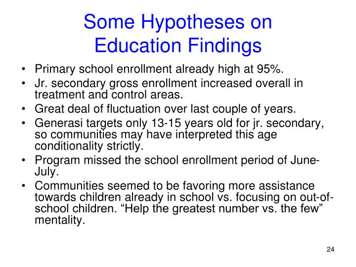 Some Hypotheses on