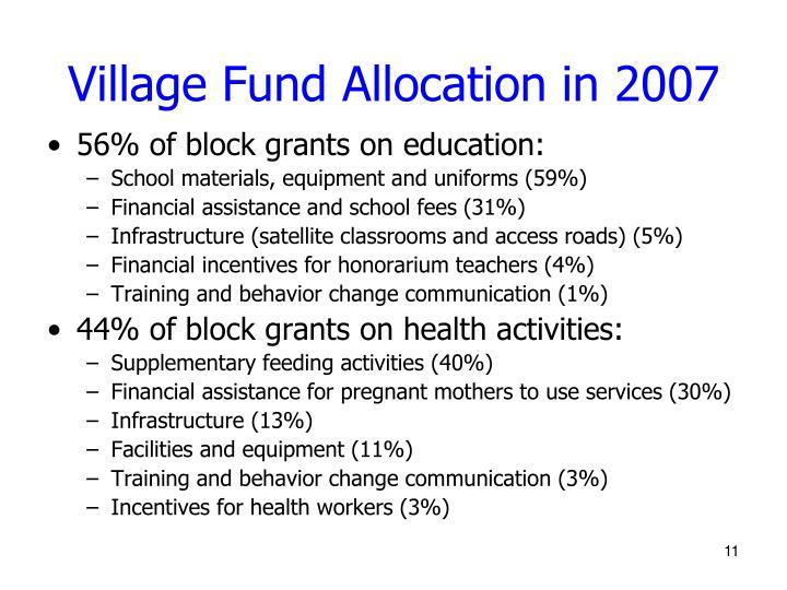 Village Fund Allocation in 2007