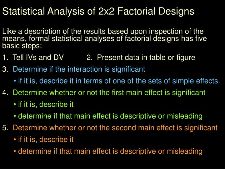 Statistical Analysis of 2x2 Factorial Designs