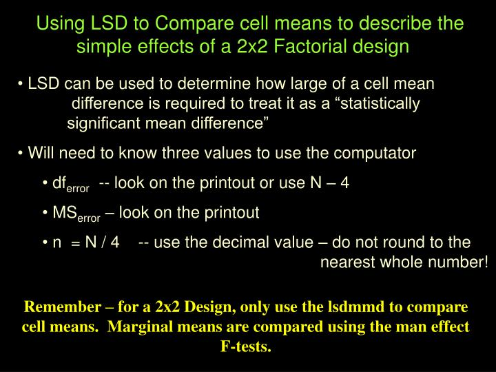 Using LSD to Compare cell means to describe the simple effects of a 2x2 Factorial design