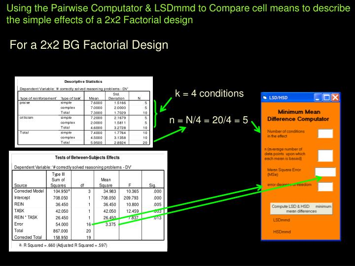 Using the Pairwise Computator & LSDmmd to Compare cell means to describe the simple effects of a 2x2 Factorial design