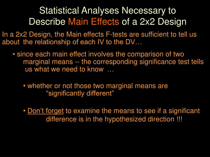 Statistical Analyses Necessary to Describe